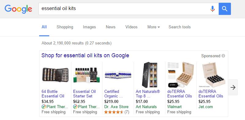 google-essential-oil-kits-sponsored-ads
