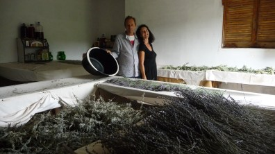 Gill and Derek in their drying room