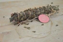 Greek sage smudge, pastel pink ceramic medal