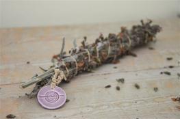 Greek sage smudge, light purple ceramic medal