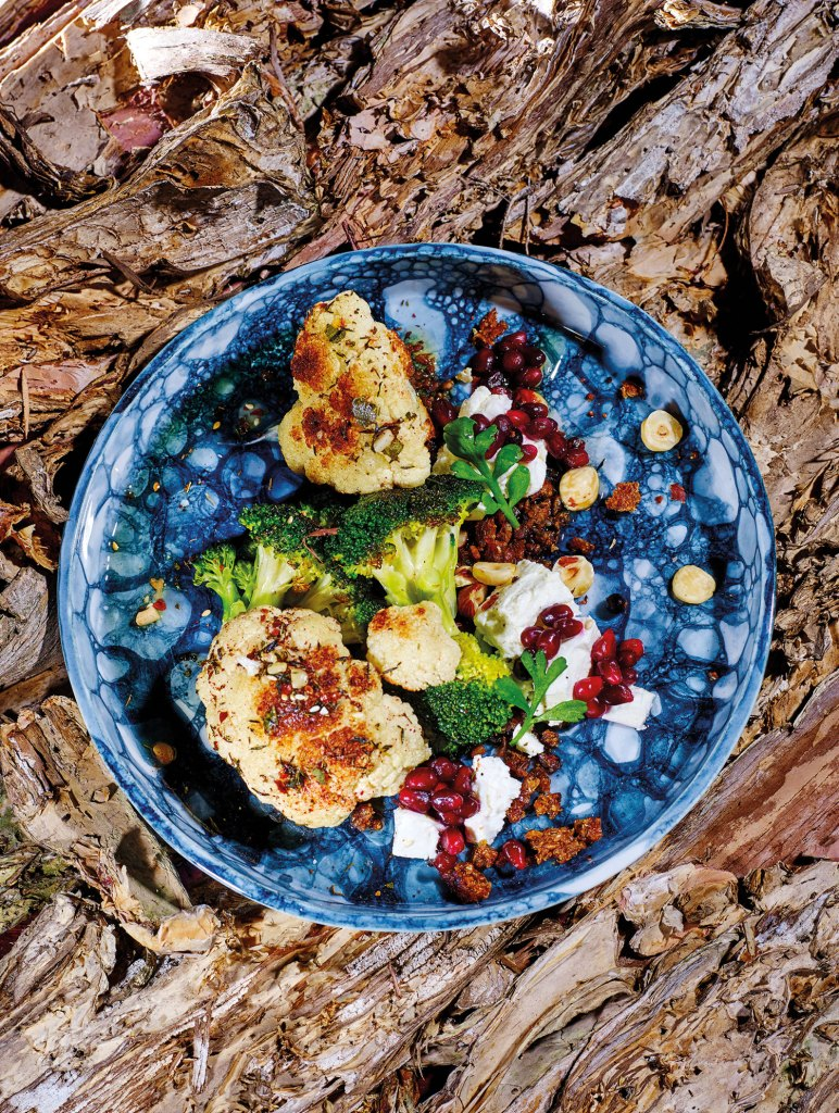 Roasted Broccoli and Cauliflower with spicy citrus dukka,
