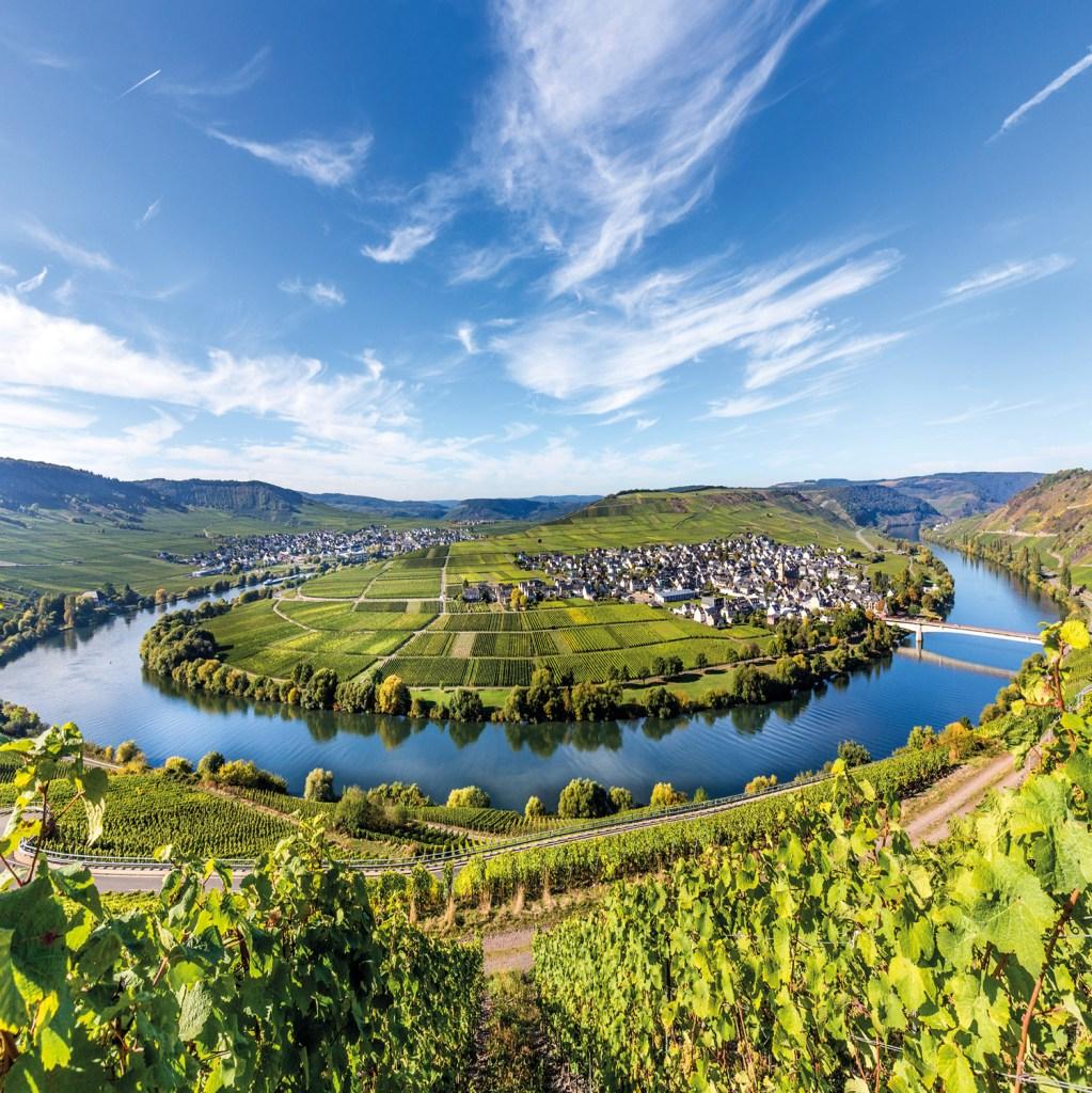 Moselle river loop in Trittenheim, Germany.