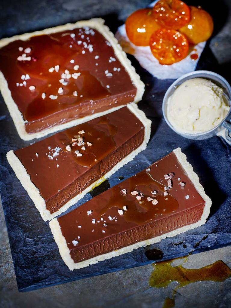 Salted Chocolate Tart with Burnt Honey and Black Tea Syrup