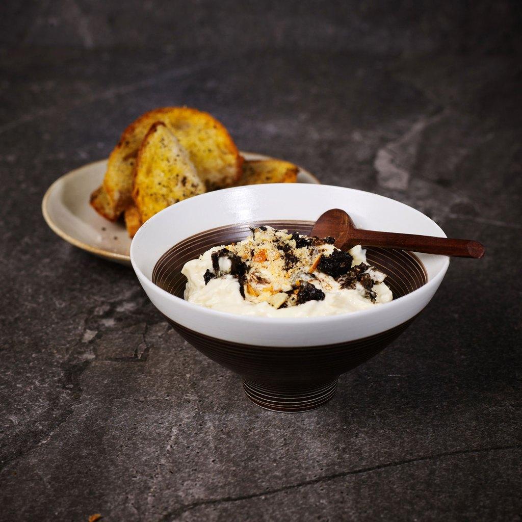 Stracciatella, Black Garlic and Brioche Crumb