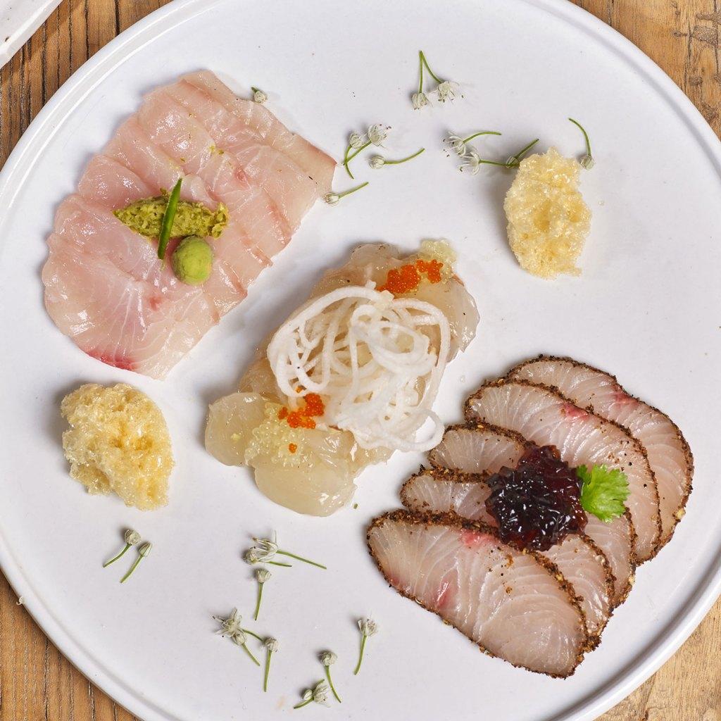 Sashimi 3 Ways with Fresh As Freeze Dried Yuzu Juice
