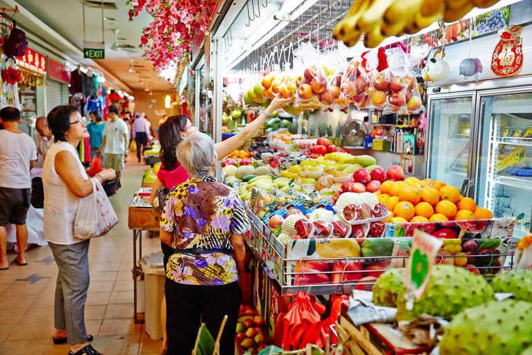 Tiong Bahru Market offers a fresh and vibrant selection of regional fruits. It is now open for trade having received the SG Clean Quality Mark.