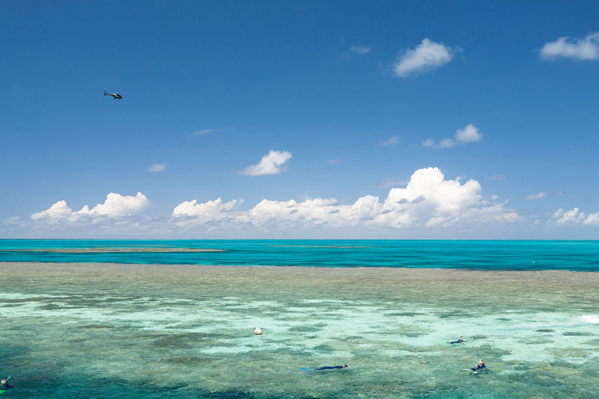 A helicopter tours over Hardy Reef