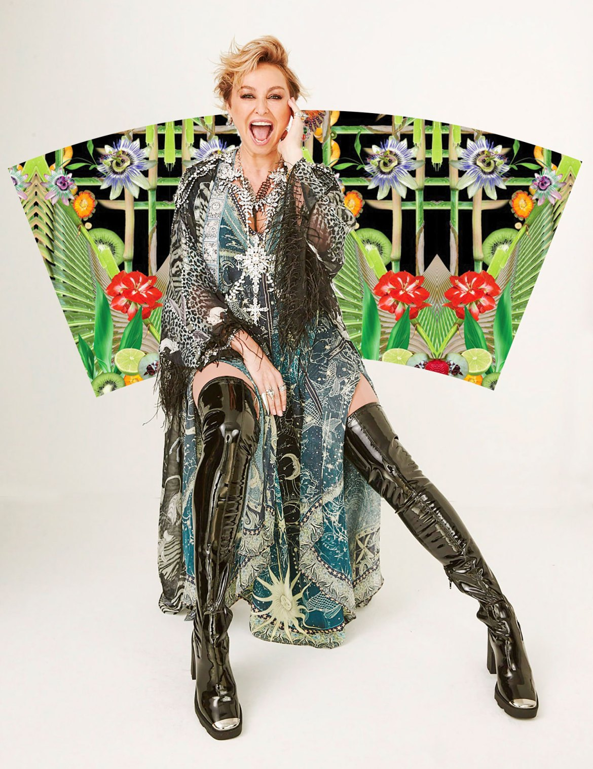 Fashion designer Camilla Franks with her BioCup Art Series design - supporting Australian Daintree Rainforest