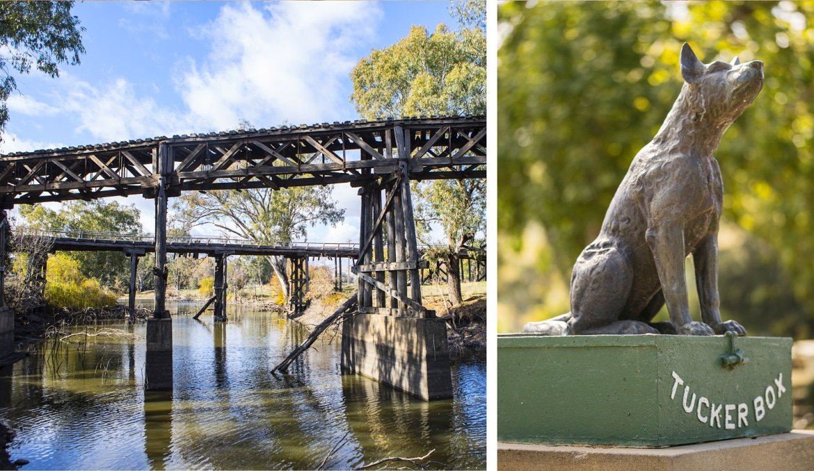 The Railway Bridge and Prince Alfred Bridge Viaduct | The Dog on the Tuckerbox sculptor, by Frank Rusconi