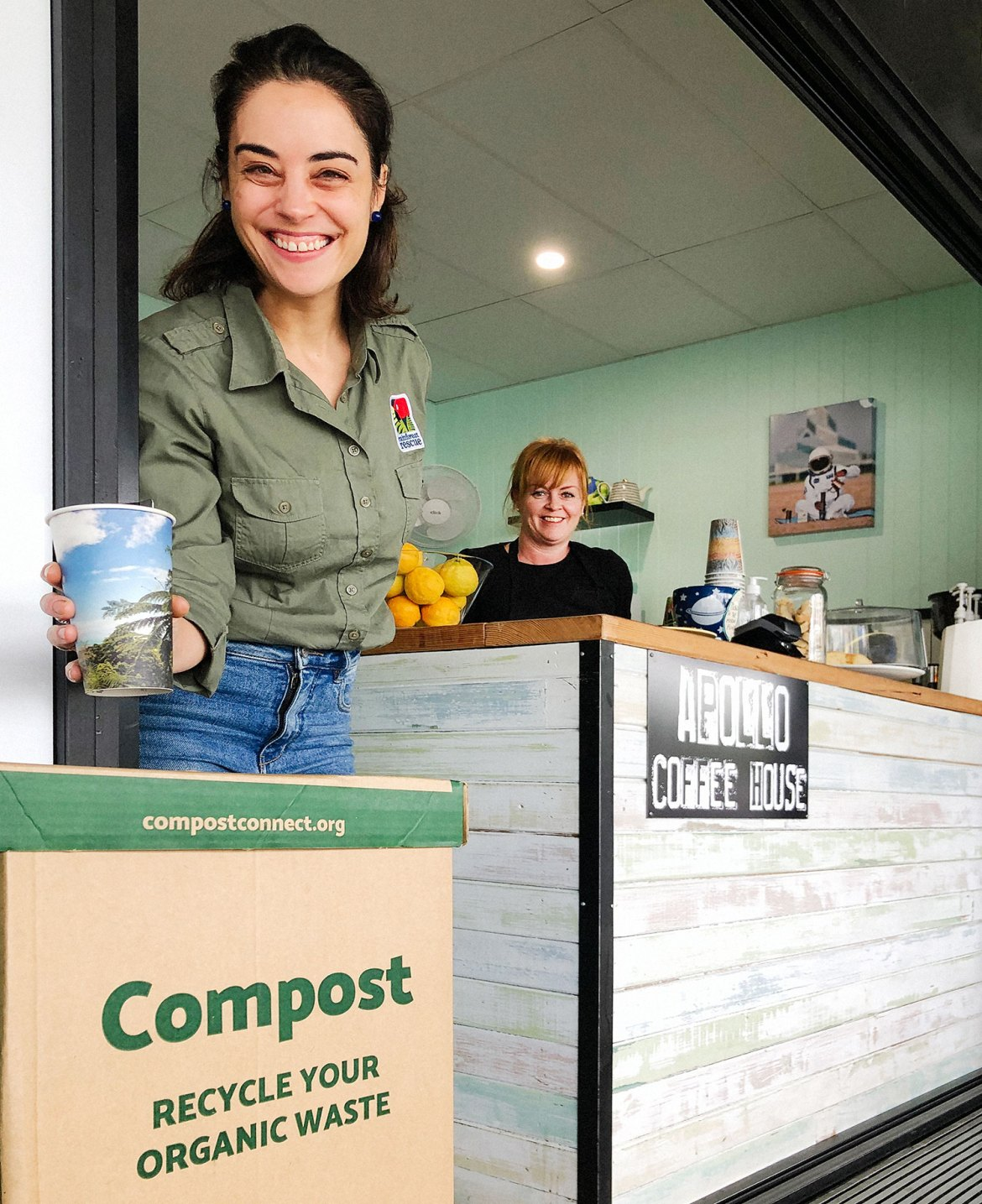 Rainforest Rescue's Kristin Canning using the Compost Connect collection bin at Apollo Cafe, Brisbane