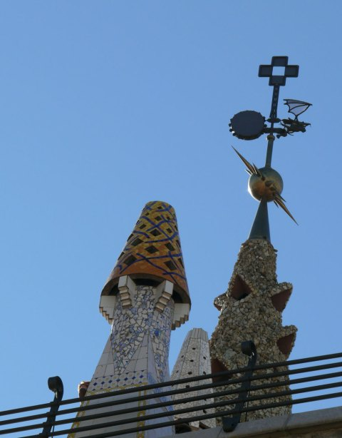 Every chimney on the roof is decorated with mosaic from broken ceramic. It was the first time when Gaudí used this decorative technique and it became one of his most favorite.