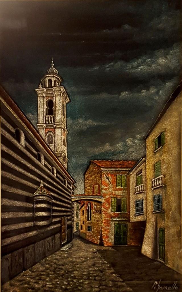 Scorcio di Albenga - olio su velluto - cm. 30 x 50