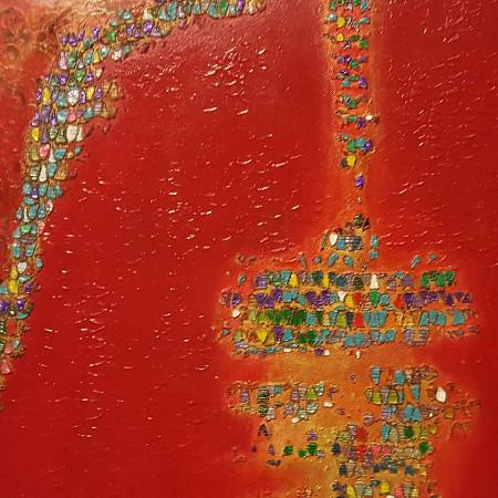 Sinfonia in rosso - tecnica mista e olio su tela - cm. 60 x 60