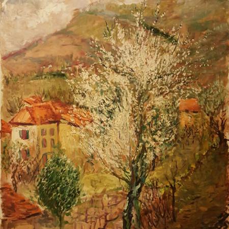 Mandorlo fiorito - acrilico su tela - cm. 73 x 83