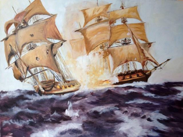 Fuoco in mare - olio su tela - cm. 60 x 80