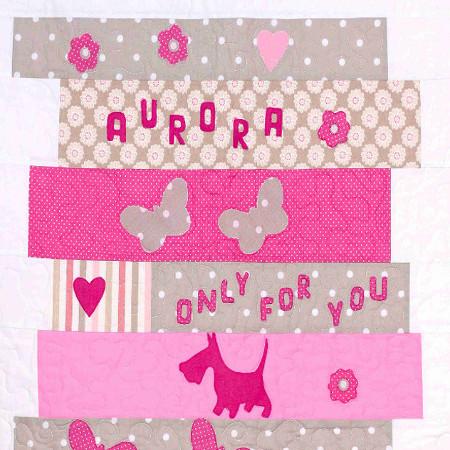 Aurora - copertina patchwork per bimba - cm. 90 x 120
