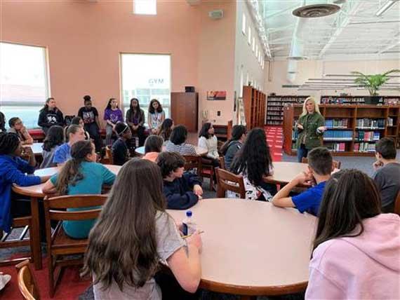 LMS students meet popular author Kate T. Parker