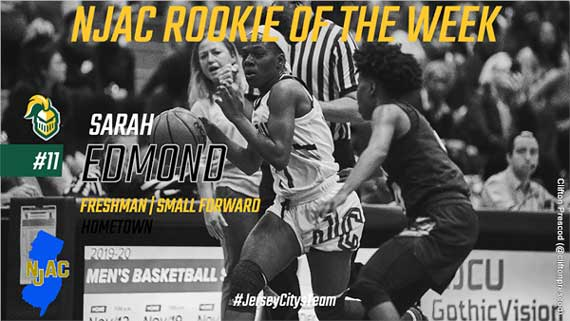 New Jersey City University's Sarah Edmond is NJAC Women's Basketball Rookie of the Week