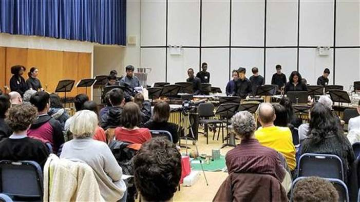 West Orange High School percussion band performs at Juilliard