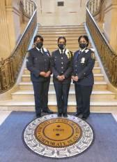 East Orange Police Sgt. Lakia Asiedu, Sgt. Keanna Thorne and Lt. Marilyn Berrouet