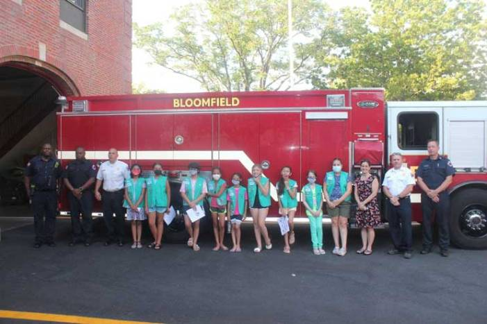 Bloomfield Girl Scouts visit firehouse as part of community service project