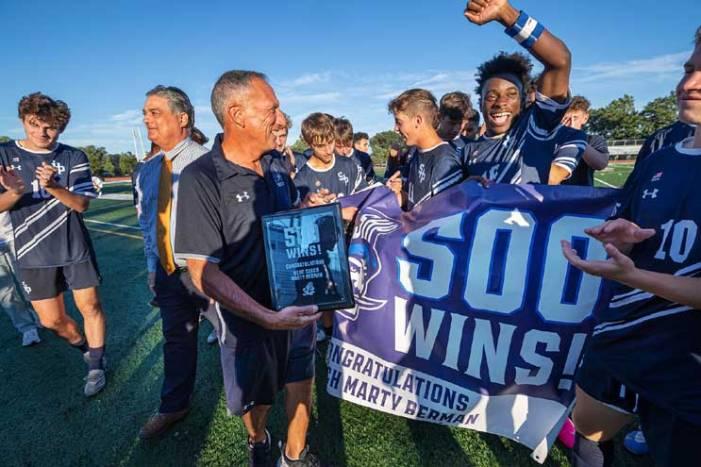 Seton Hall Prep head soccer coach Marty Berman gains 500th career victory