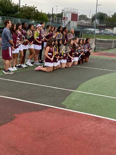 Nutley HS girls tennis program has large turnout this season; wears pink in honor of Breast Cancer Awareness Month