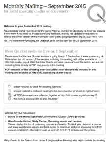 Monthly Mailing – September 2015