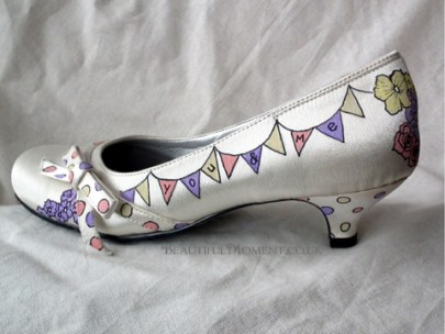 Vintage Bunting painted shoe by Beautiful Moment art