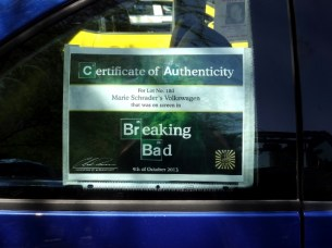 Breaking Bad car certificate of authenticity