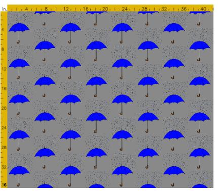 umbrellas and raindrops blue