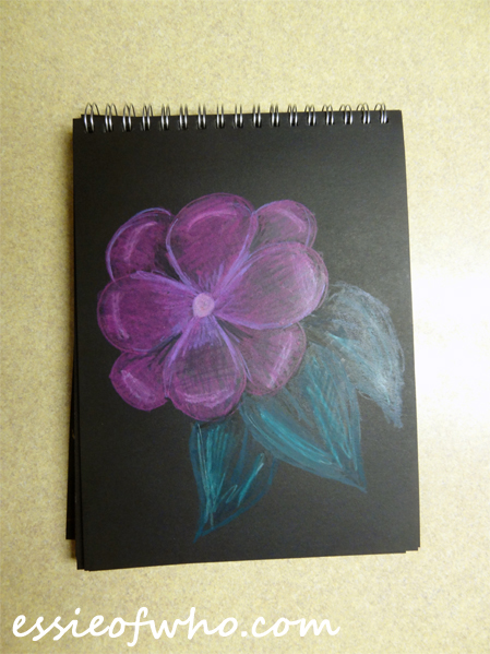black paper sketch flower 2