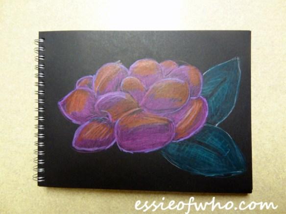 black paper sketch flower 3