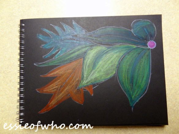 black paper sketch leaves