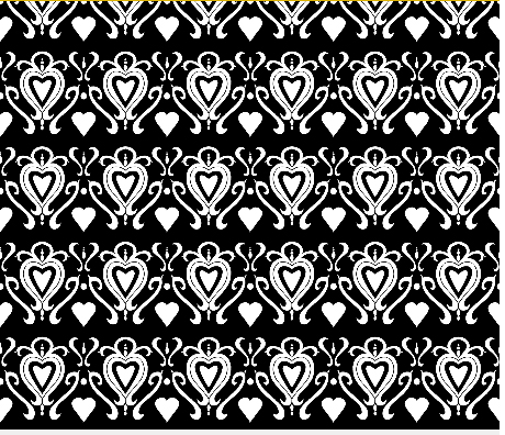 heart damask fabric design 1