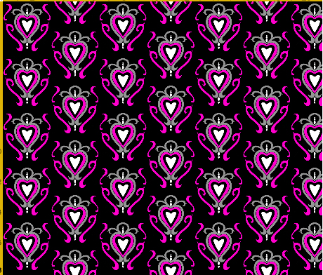 heart damask fabric design 6