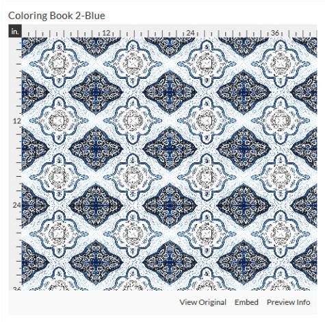 coloring book 2 blue fabric design
