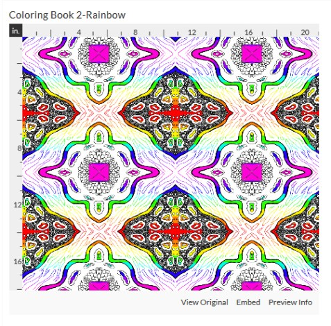 coloring book 2 rainbow fabric design