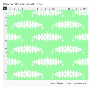 diamond broach green fabric design