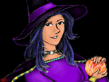 Witch painting for Halloween 2013.