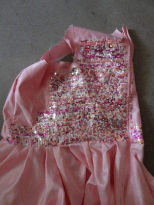 Sequin sewing progress on the first try at making the bodice