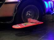 Hoverboard beside the Delorean's wheel