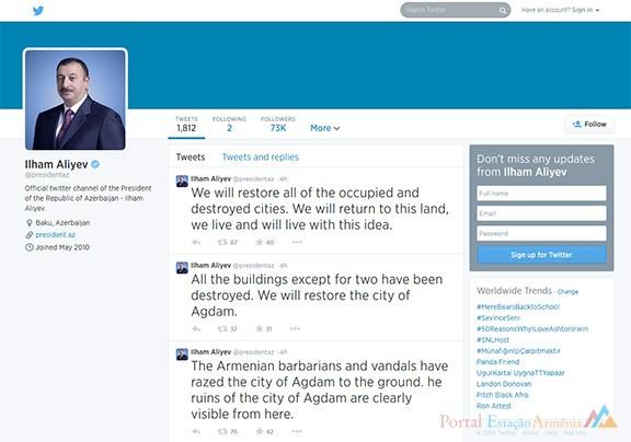 Reprodução do perfil de Aliyev no Twitter