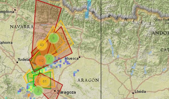 Tormentas sobre la provincia de Zaragoza y Huesca 21 de Julio del 2017.