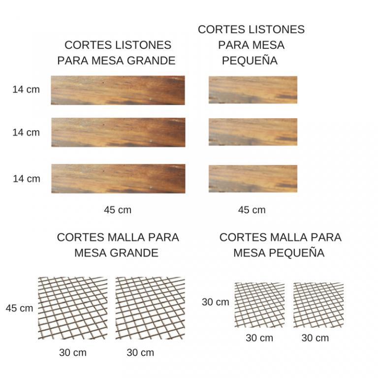 Cortes madera mesa auxiliar
