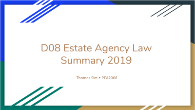 Summary Series – D08 Estate Agency Law