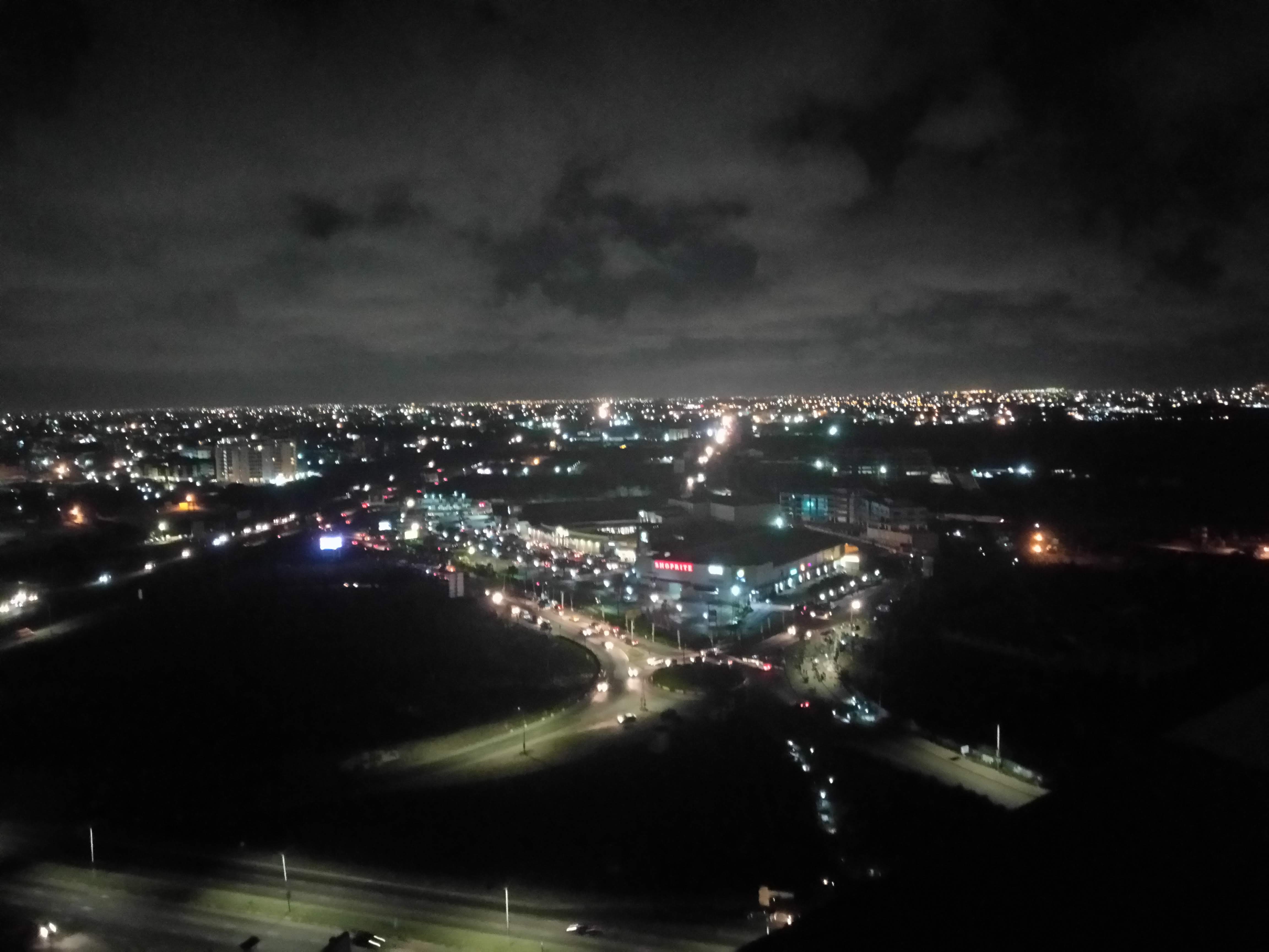 A view of Accra from the top of the Alto Tower. Accra City Mall can be seen in the distance.