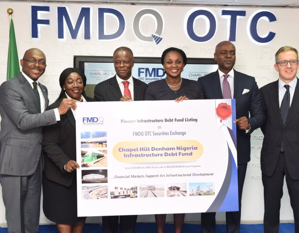 FMDQ lists the pioneer Infrastructure Debt Fund in Nigeria. L-R Bola Onadele; Kemi Awodein; Wale Edun; Uju Irukwu; Bolaji Balogun; Phil Southwell. Image Source: Chapel Hill Denham