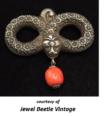 Romantic period Victorinan Jewelry Snake Motif Brooch