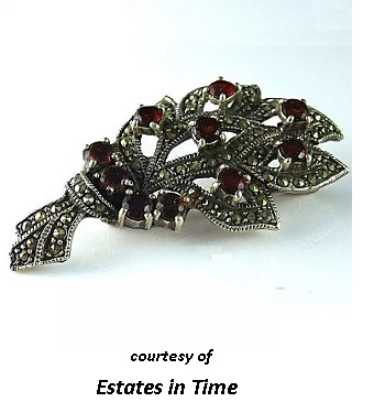 Sterling Garnet and Marcasite Brooch in Garnet Legends